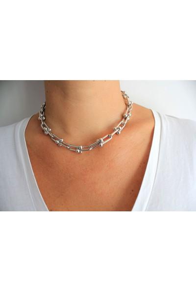 Arda Aksesuar Tiffany Model Kalın Zincir Gümüş Renk Kolye