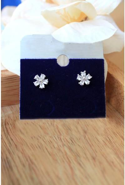 Arda Aksesuar Çiçek Taşlı Model Zirkon Gümüş Renk Kaplama Küpe