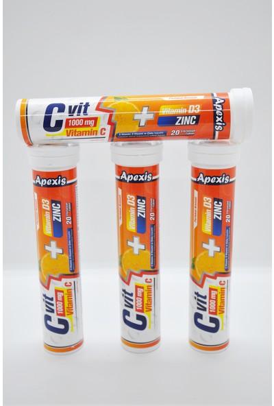 Apexis Cvit 1000 mg + D3 + Zinc 20 Efervesan Tablet 4 Adet