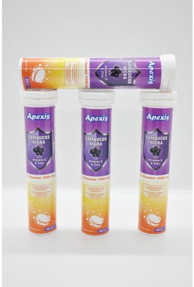 Apexis Sambucus Nigra Vitamin C & Zinc 1000 mg 20 Efervesan Tablet? 4 Adet