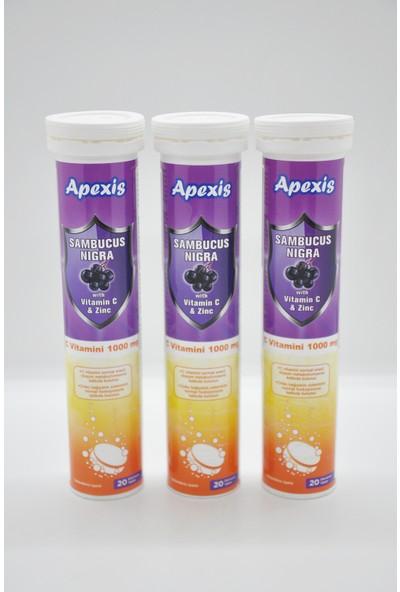 Apexis Sambucus Nigra Vitamin C & Zinc 1000 mg 20 Efervesan Tablet? 3 Adet