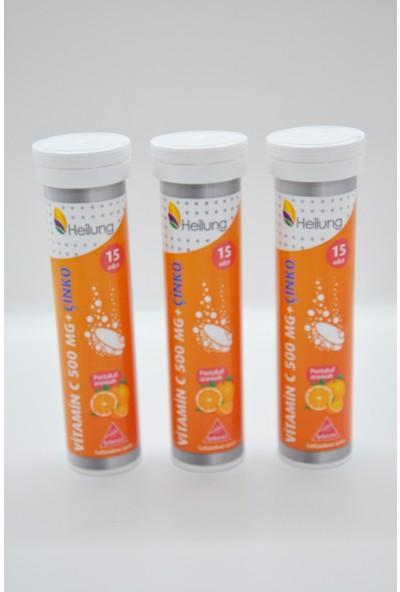 Apexis Heilung Vitamin C 500 mg + Çinko Efervesan 15 Tablet 3 A:det