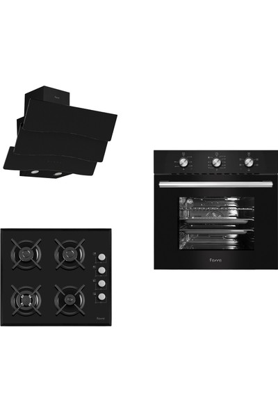 Ferre Black Lux Uehara 3'lü Wok Ankastre Set (6004-S1140WB-D023)