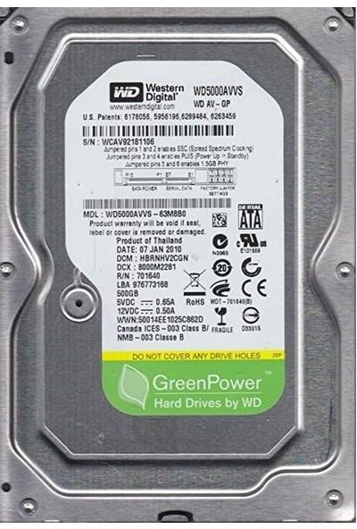 WD 500GB 7200RPM 32MB 3.5 Sabit Disk (WD5000AVVS-63 M8B0)