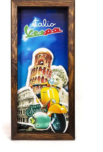 Arti2tr Dekoratif Vespa Italya Temalı 3D Duvar Saati