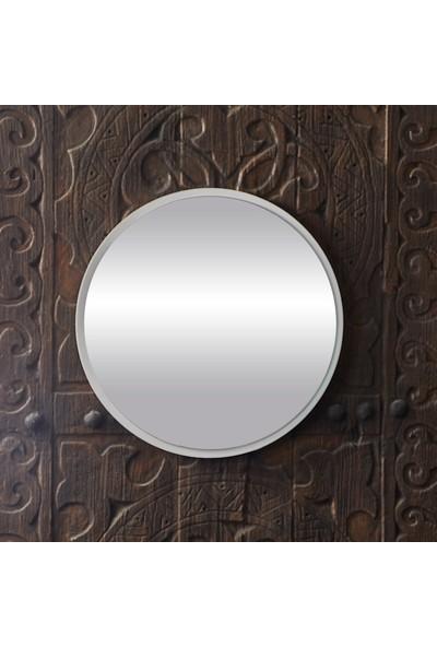 Bluecape Yuvarlak Beyaz Duvar Salon Ofis Aynası
