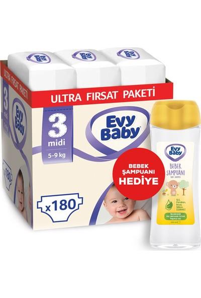Evy Baby Bebek Bezi 3 Beden Midi Ultra Fırsat Paketi 180 (Şampuan Hediyeli)