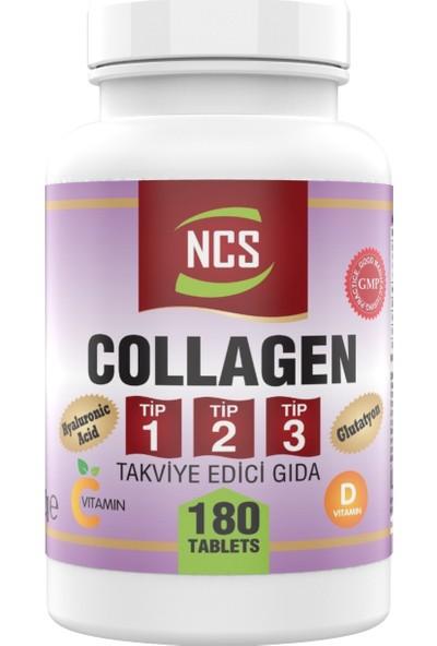 Ncs Collagen Type 1-2-3 (Kolajen) 1000 Mg 180 Tablet Glutatyon Vitamin D Hyaluronic Acid Vitamin C