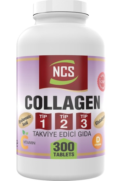 Ncs Collagen Type 1-2-3 (Kolajen) 1000 Mg 300 Tablet Glutatyon Vitamin D Hyaluronic Acid