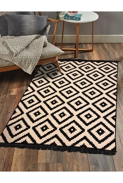 Markaev Cotton Siyah-Beyaz Çift Taraflı Kilim 02 60 x 120 cm