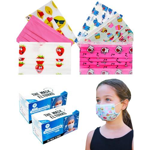 The Mask Elturko Kız Çocuk Premium 3 Katlı Tek Kullanımlık Burun Telli Full Ultrasonic Renkli Cerrahi Çocuk Maskesi 100 Adet