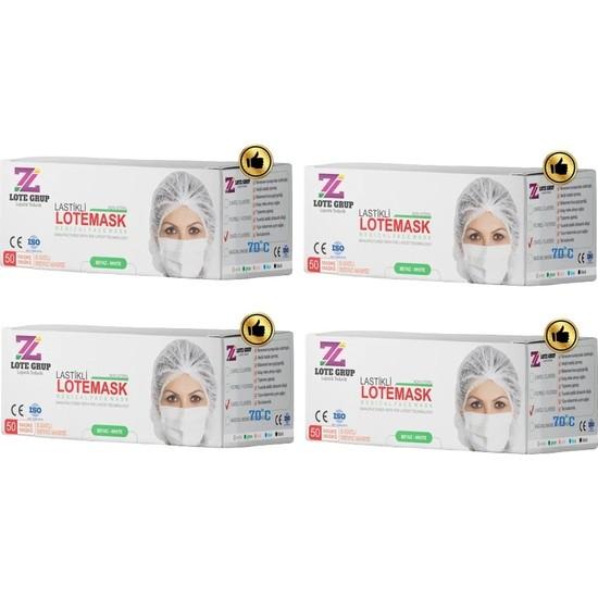 Lote Grup 3 Katlı Medikal Maske 200 Adet - Beyaz Ultrasonik Yüz Maskesi