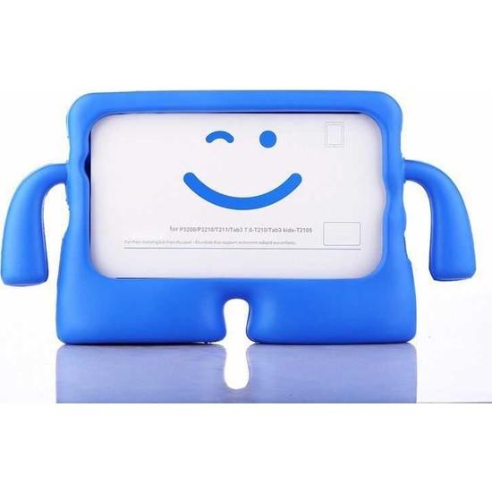 CepLab Apple iPad 6. Nesil 9.7 2018 Kılıf Emoji Standlı Silikon Tablet Kılıfı + Dokunmatik Kalem Mavi