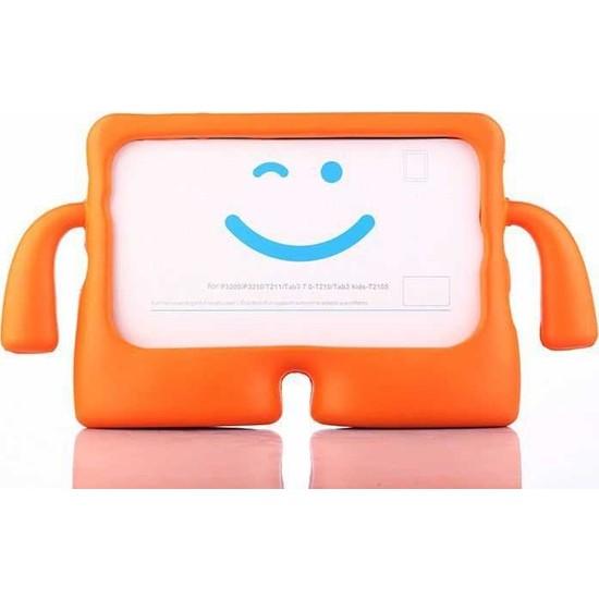 CepLab Huawei Mediapad T5 10.1 Kılıf Emoji Standlı Silikon Tablet Kılıfı + Dokunmatik Kalem Turuncu