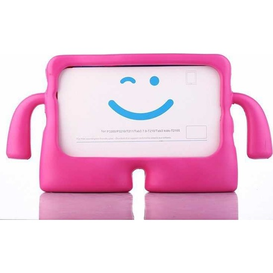 CepLab Samsung Galaxy Tab A 8.0 T290-T295 Kılıf Emoji Standlı Silikon Tablet Kılıfı + Dokunmatik Kalem Koyu Pembe