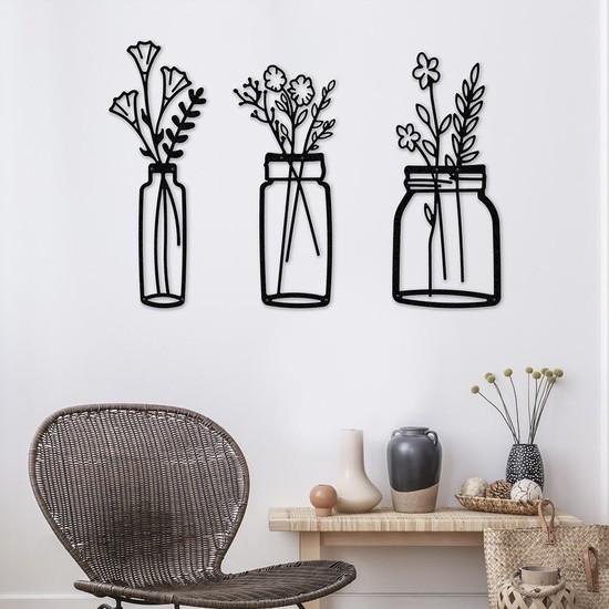 Thorqtech Bahar Çiçekleri Vazo Dekoratif Metal Duvar Tablosu