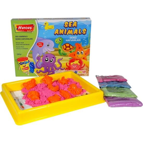 Heroes Büyük Oyun Havuzu + Hayvan Kalıpları, + 4 Renk 1 kg Oyun Kumu - Sihirli Kum