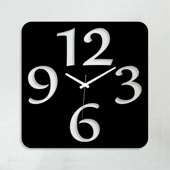 Sa Lazer Siyah Hediyelik Dekoratif Ahşap Farklı Desen Duvar Saat 50 cm S-14
