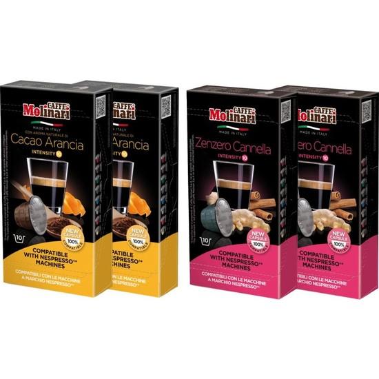 Cafe Molinari Portakal-Kakao / Zencefil-Karanfil 4 Kutu 40 Kapsül Nespresso Makinası Uyumlu