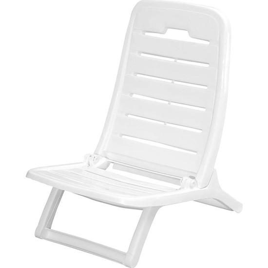 Mete Plastik Tempo Katlanır Plaj Sandalyesi Beyaz