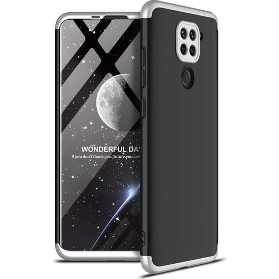 Case 4U Xiaomi Redmi Note 9S / 9 Pro Kılıf 360 Derece Korumalı Tam Kapatan Koruyucu Sert Silikon Ays Arka Kapak Siyah Gümüş