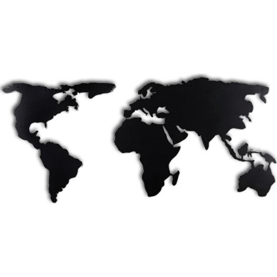 Thorqtech Dekoratif Duvar Metal Tablosu Dünya Haritası 60 x 120 cm
