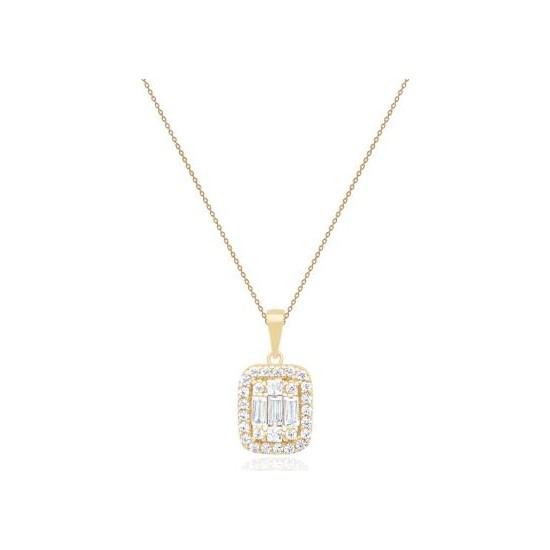 Diamond Line-Gülaylar - Altın 14 Ayar Baget Taşlı Kolye