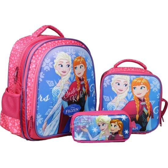 Öykü Elsa Frozen Okul Çantası Beslenme ve Kalem Kutu Takımı