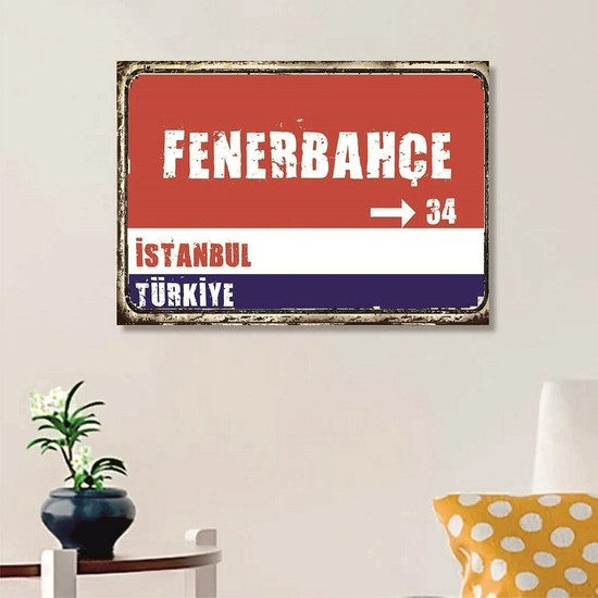 Ferman Hediyelik Fenerbahçe Tabelası Ahşap Retro Poster