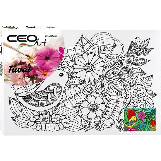 Ceo Art Desenli Tuval 25 x 35 cm Kuş ve Çiçekler