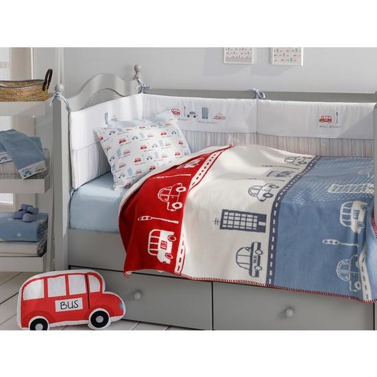 English Home Mini Cars Pamuklu Bebe Battaniye 100 x 120 cm Kırmızı