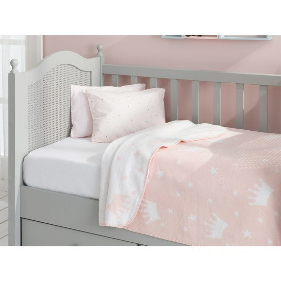 English Home Mini Crown Pamuklu Bebe Battaniye 100 x 120 cm Pembe