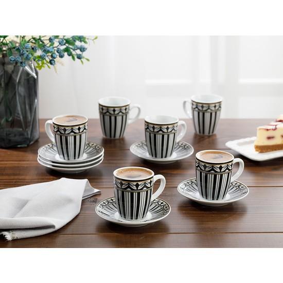 English Home Eldora Porselen 12 Parça Kahve Fincan Takımı 100 ml Siyah - Beyaz