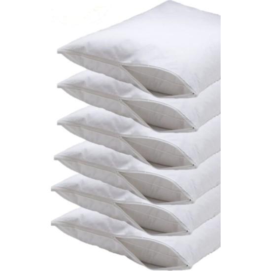 Soft Colours Fermuarlı 6 Adet Yastık Içi Koruyucu Beyaz Yastık Kılıfı Pamuk Kumaş