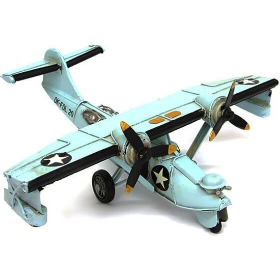 Evim Tatlı Evim Nostaljik Metal Savaş Uçağı Ok-Fol 20 Modeli 28 cm
