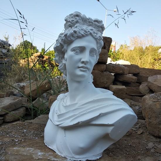 3D Product Sale Apollo Heykeli Dekoratif Büst Obje Biblo Figür Beyaz Büyük Boy