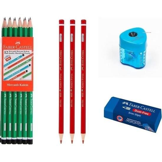 Faber-Castell 12 Li Kurşun Kalem+ 3 Kırmızı Kalem+ Silgi+ Kalemtraş