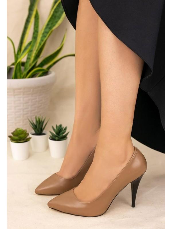 Erbilden Revaxi Vizon Cilt Stiletto Ayakkabı
