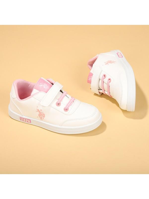 U.S. Polo Assn Cameron Kız/Erkek Çocuk Spor Ayakkabı Beyaz Pembe