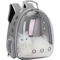 Miapet Şeffaf Astronot Kedi Köpek Taşıma Çantası 42 x 22 x 33 cm Gri