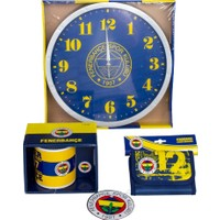 Fenerbahçe Lisanslı Duvar Saati + Kupa ve Cüzdan Seti