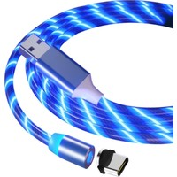 Judas Type-C Magnetic Akan Led Işıklı Şarj Kablosu 1 mt - Mavi