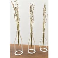 Thorqtech 3'lü Set Dekoratif Metal Vintage Vazo Beyaz