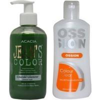 Acacia Jeans Color Saç Boyası Zümrüt Yeşili 250ml ve Ossion Saç Boya Temizleyicisi 200ml