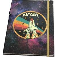 Patladı Gitti Nasa Uzay Mekiği Tasarımlı Lastikli Çizgisiz Defter