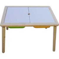 Damla Toys Masif Ahşap Çocuk Oyun Aktivite Ders Masası + 1 Sarı 1 Yeşil Kova