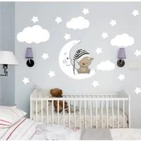 Kt Decoration Uyuyan Ayıcık Yıldız Bulut Set Bebek Çocuk Odası Duvar Sticker