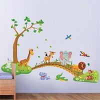 Kt Decoration Çocuk Odası Dekorasyonu Duvar Dekoru Ağaç Köprü ve Hayvanlar