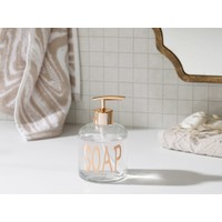 English Home Elsa Cam Banyo Sıvı Sabunluk 8 X 14 cm Rose Gold
