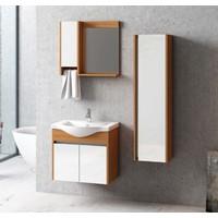 Nplus Logan 65 cm Banyo Dolabı Beyaz - M. Teak (Alt Modül + Üst Modül + Lavabo)